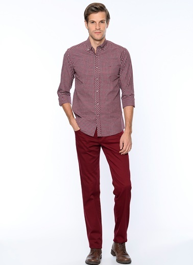 Wessi Slim Fit Kanvas Pantolon Bordo